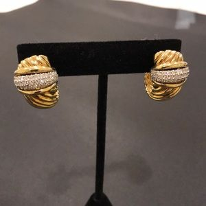 David yurman gold and diamond earrings